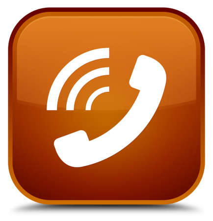 Phone ringing icon isolated on special brown square button abstract illustration Stock Photo