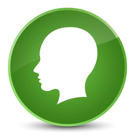 Head female face icon isolated on elegant soft green round button abstract illustration