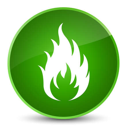 fire circle: Fire icon isolated on elegant green round button abstract illustration Stock Photo