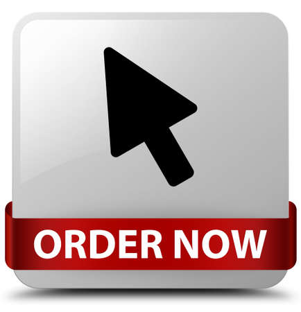 Order now (cursor icon) isolated on white square button with red ribbon in middle abstract illustration