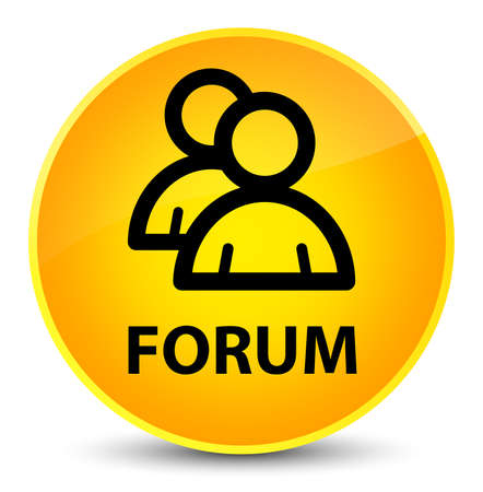 Forum (group icon) isolated on elegant yellow round button abstract illustration