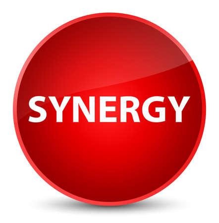 Synergie op elegante rode ronde knoop abstracte illustratie die wordt geïsoleerd Stockfoto