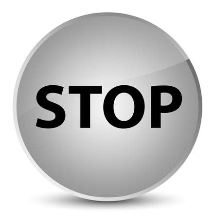 Stop isolated on elegant white round button abstract illustration Stock Photo