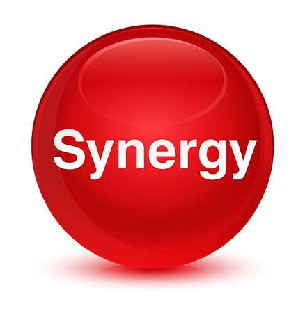 Synergie op glazige rode ronde knoop abstracte illustratie die wordt geïsoleerd Stockfoto