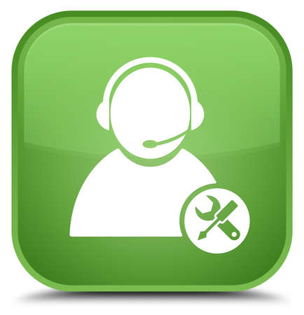 Tech support icon isolated on special soft green square button abstract illustration