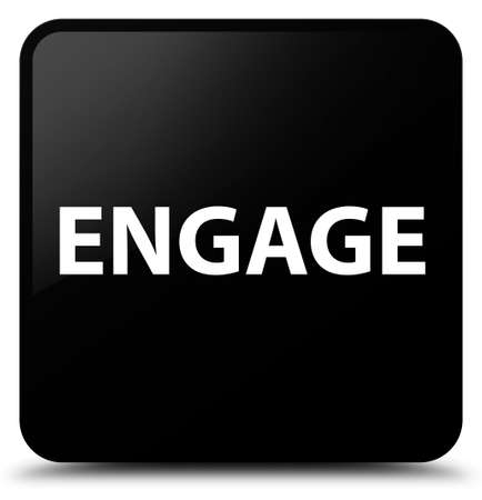 Engage isolated on black square button abstract illustration Stock Photo