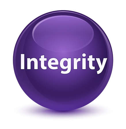 Integrity isolated on glassy purple round button abstract illustration