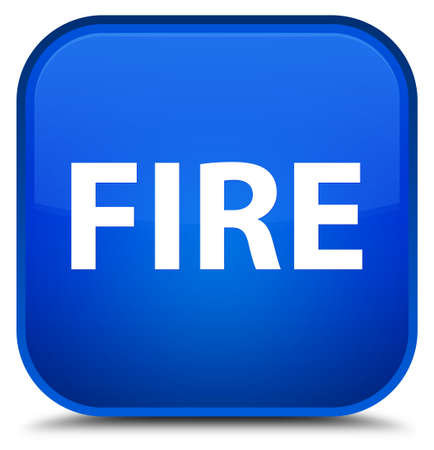 Fire isolated on special blue square button abstract illustration