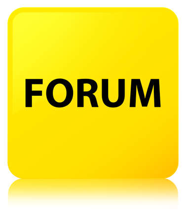 Forum isolated on yellow square button reflected abstract illustration