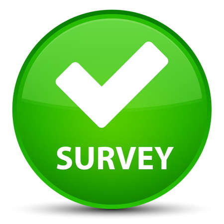 Survey (validate icon) isolated on special green round button abstract illustration