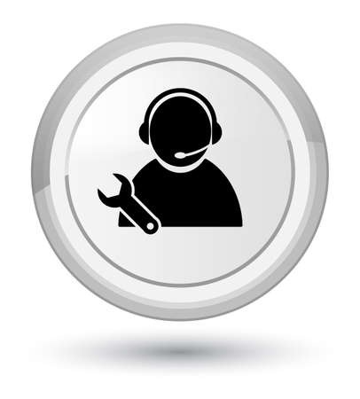 Tech support icon isolated on prime white round button abstract illustration Stock Photo