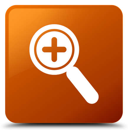 Zoom in icon isolated on brown square button abstract illustration