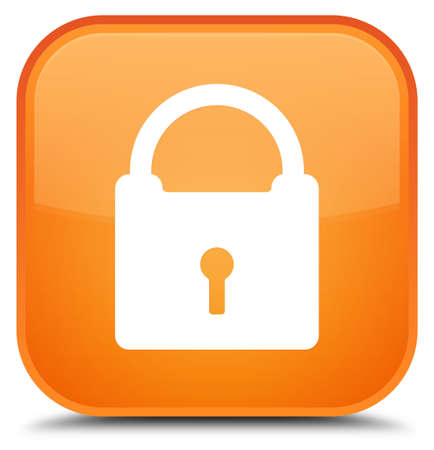 Padlock icon isolated on special orange square button abstract illustration Stok Fotoğraf - 89482133