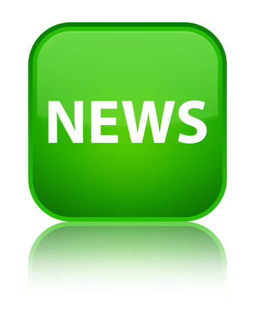 News isolated on special green square button reflected abstract illustration