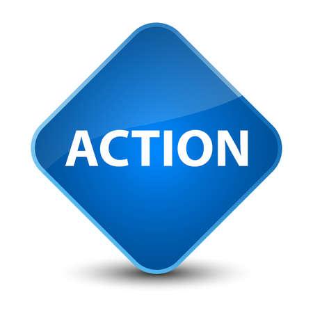 Action isolated on elegant blue diamond button abstract illustration