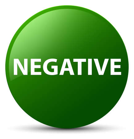 Negative isolated on green round button abstract illustration Stock Photo