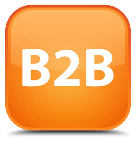 b2b: B2b isolated on special orange square button abstract illustration Foto de archivo