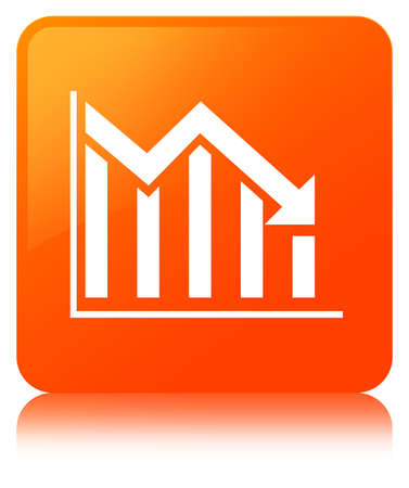 Statistics down icon isolated on orange square button reflected abstract illustration