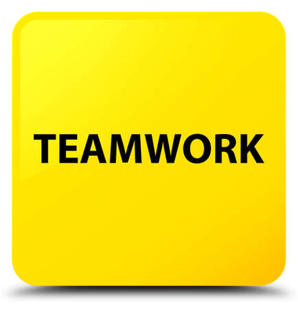 Teamwork isolated on yellow square button abstract illustration