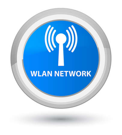 Wlan network isolated on prime cyan blue round button abstract illustration Stock Photo