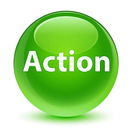Action isolated on glassy green round button abstract illustration Stock Photo