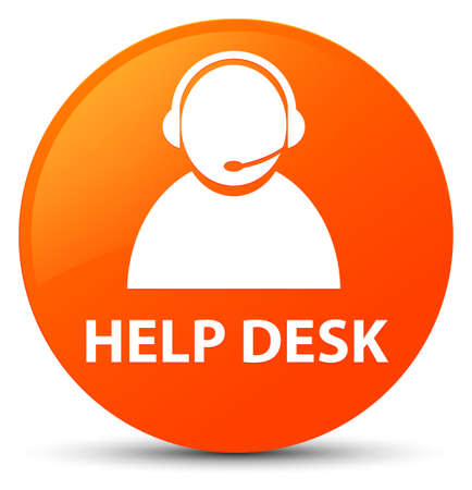 Help desk (customer care icon) isolated on orange round button abstract illustration