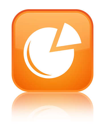 Graph icon isolated on special orange square button reflected abstract illustration Stock Photo