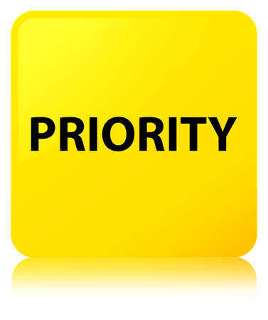 Priority isolated on yellow square button reflected abstract illustration