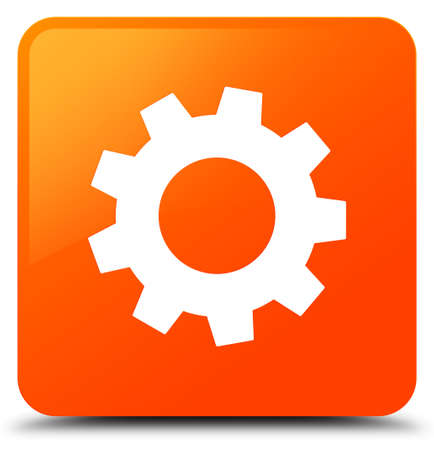 Process icon isolated on orange square button abstract illustration