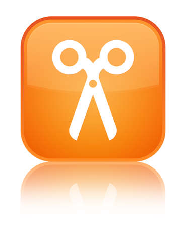 Scissors icon isolated on special orange square button reflected abstract illustration Stock Photo