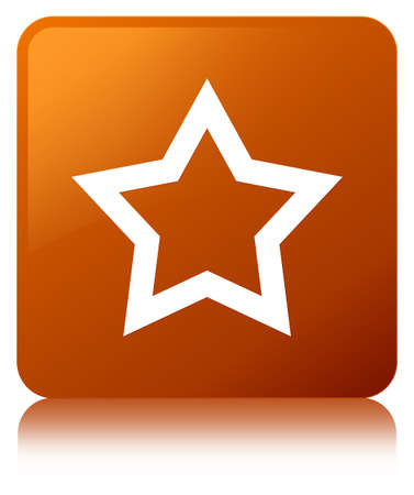 Star icon isolated on brown square button reflected abstract illustration