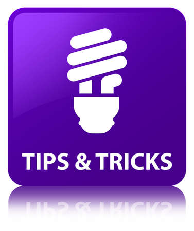 Tips and tricks (bulb icon) isolated on purple square button reflected abstract illustration