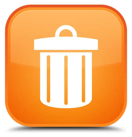 trash container: Recycle bin icon isolated on special orange square button abstract illustration