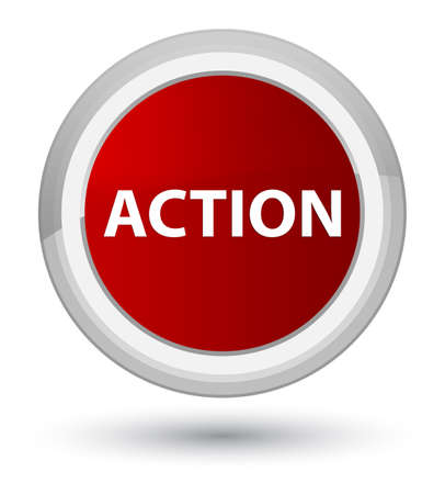 Action isolated on prime red round button abstract illustration