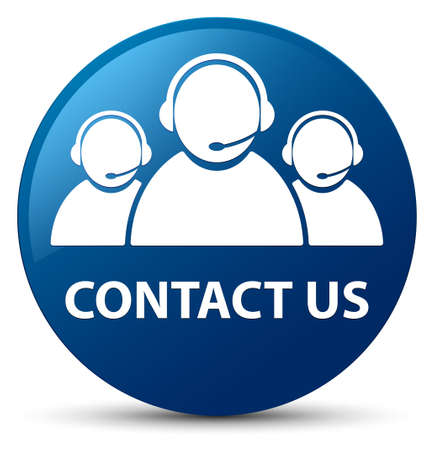 Contact us (customer care team icon) isolated on blue round button abstract illustration