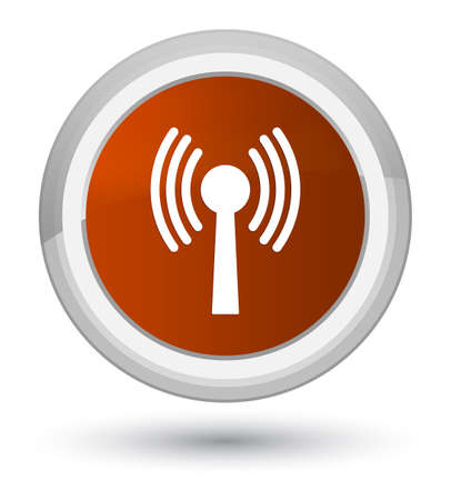 Wlan network icon isolated on prime brown round button abstract illustration