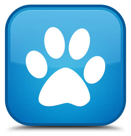 Animal footprint icon isolated on special cyan blue square button abstract illustration