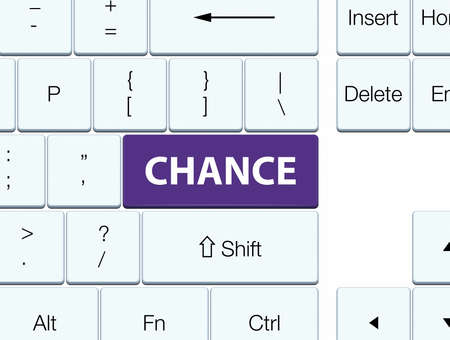 Chance isolated on purple keyboard button abstract illustration