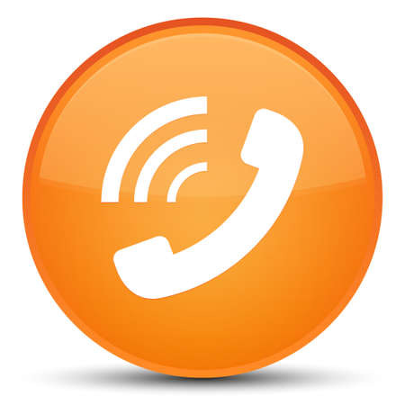 Phone ringing icon isolated on special orange round button abstract illustration
