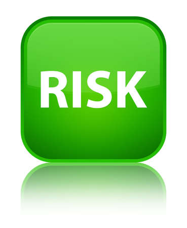 Risk isolated on special green square button reflected abstract illustration