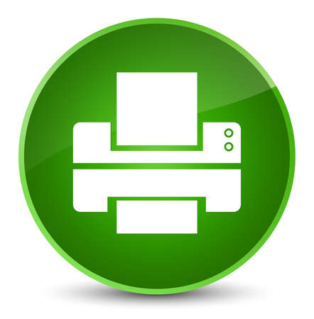 Printer icon isolated on elegant green round button abstract illustration