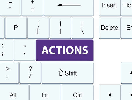Actions isolated on purple keyboard button abstract illustration