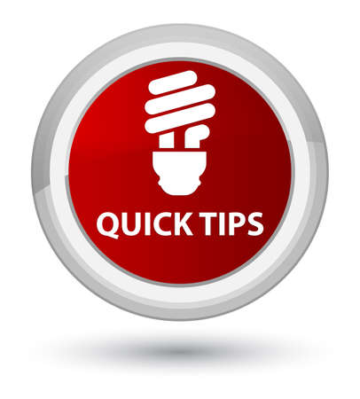 Quick tips (bulb icon) isolated on prime red round button abstract illustration