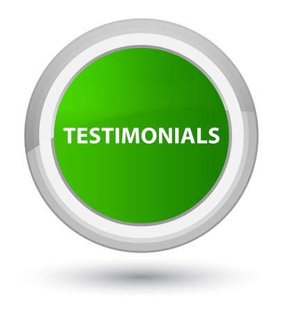 Testimonials isolated on prime green round button abstract illustration