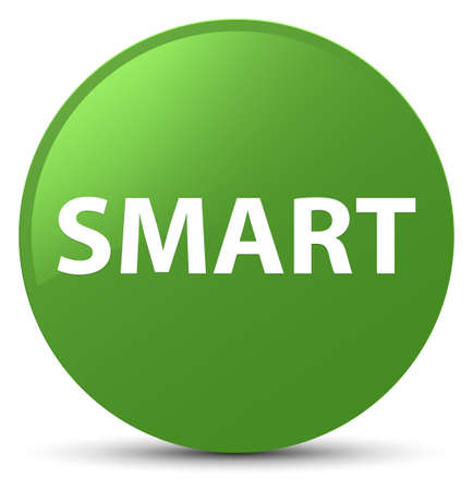 Smart isolated on soft green round button abstract illustration Imagens