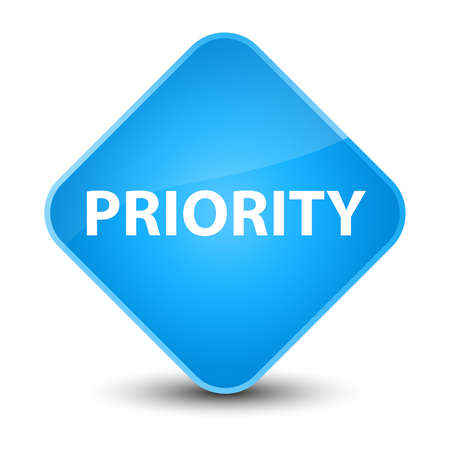Priority isolated on elegant cyan blue diamond button abstract illustration Фото со стока