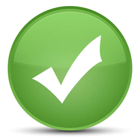 Icône de validation isolé sur illustration abstraite spéciale bouton rond vert doux