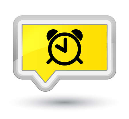 Alarm clock icon isolated on prime yellow banner button abstract illustration Stock Photo