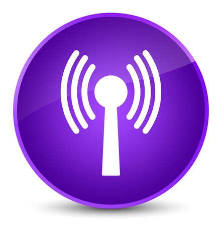 Icône de réseau WLAN isolé sur une illustration abstraite élégante bouton rond violet Banque d'images - 89483584
