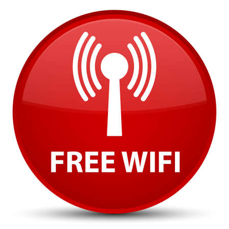 Free wifi (wlan network) isolated on special red round button abstract illustration
